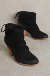 Rae Ruched Suede Boots - predominant colour: black; occasions: casual, creative work; material: suede; heel height: high; heel: block; toe: round toe; boot length: ankle boot; style: standard; finish: plain; pattern: plain; season: a/w 2016
