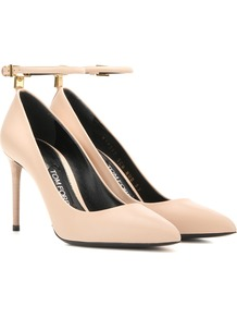 Leather Pumps - predominant colour: nude; occasions: evening; material: leather; heel height: high; ankle detail: ankle strap; heel: stiletto; toe: pointed toe; style: courts; finish: plain; pattern: plain; season: a/w 2016