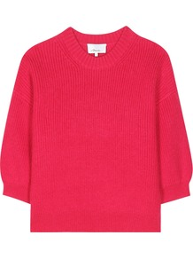 Wool Blend Sweater - pattern: plain; style: square cut; predominant colour: hot pink; occasions: casual, creative work; length: standard; fibres: wool - mix; fit: loose; neckline: crew; sleeve length: half sleeve; sleeve style: standard; texture group: knits/crochet; pattern type: knitted - other; season: a/w 2016