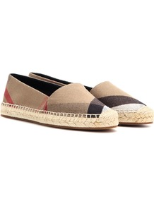 Hodgeson Check Espadrilles - predominant colour: taupe; occasions: casual, holiday; material: suede; heel height: flat; toe: round toe; finish: plain; pattern: checked/gingham; style: espadrilles; multicoloured: multicoloured; season: a/w 2016