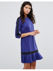 3/4 Sleeve Shift Dress With Ruffle Hem Blue - style: shift; pattern: plain; predominant colour: royal blue; secondary colour: black; occasions: evening; length: just above the knee; fit: body skimming; fibres: polyester/polyamide - stretch; neckline: crew; sleeve length: 3/4 length; sleeve style: standard; hip detail: ruffles/tiers/tie detail at hip; pattern type: fabric; texture group: jersey - stretchy/drapey; season: a/w 2016