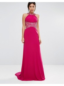 Madaline Maxi Dress With Embelished Waist And Neckline Magenta - pattern: plain; sleeve style: sleeveless; style: maxi dress; waist detail: embellishment at waist/feature waistband; predominant colour: hot pink; occasions: evening; length: floor length; fit: body skimming; fibres: polyester/polyamide - 100%; neckline: crew; sleeve length: sleeveless; pattern type: fabric; texture group: jersey - stretchy/drapey; embellishment: beading; season: a/w 2016