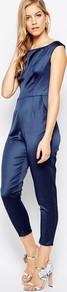 Cold Shoulder Jumpsuit In Satin Navy - neckline: round neck; pattern: plain; sleeve style: sleeveless; predominant colour: navy; occasions: evening; length: calf length; fit: body skimming; fibres: polyester/polyamide - 100%; sleeve length: sleeveless; texture group: structured shiny - satin/tafetta/silk etc.; style: jumpsuit; pattern type: fabric; season: a/w 2016