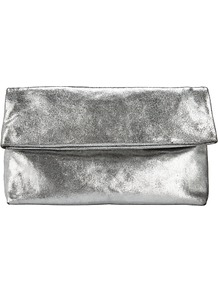 Mia Leather Clutch Bag - predominant colour: silver; occasions: evening, occasion; type of pattern: standard; style: clutch; length: hand carry; size: standard; material: leather; pattern: plain; finish: plain; season: a/w 2016