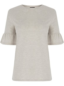 Flute Sleeve T Shirt, Beige - neckline: round neck; pattern: plain; style: t-shirt; predominant colour: ivory/cream; occasions: casual, work, creative work; length: standard; fibres: cotton - 100%; fit: body skimming; sleeve length: short sleeve; sleeve style: standard; pattern type: fabric; texture group: jersey - stretchy/drapey; season: a/w 2016