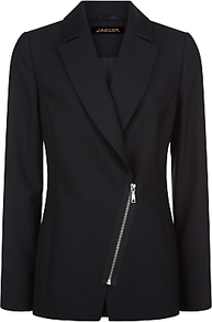 Wool Tailored Jacket, Black - pattern: plain; style: single breasted blazer; length: below the bottom; collar: standard lapel/rever collar; predominant colour: black; occasions: work; fit: tailored/fitted; fibres: wool - 100%; sleeve length: long sleeve; sleeve style: standard; collar break: medium; pattern type: fabric; texture group: woven bulky/heavy; embellishment: zips; season: a/w 2016