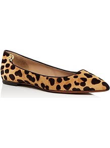 Elizabeth Leopard Print Calf Hair Pointed Toe Flats - predominant colour: black; occasions: casual, creative work; material: animal skin; heel height: flat; toe: pointed toe; style: ballerinas / pumps; finish: plain; pattern: animal print; season: a/w 2016