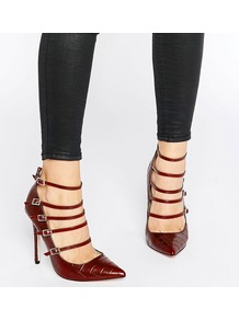 Hathaway Strappy Croc Print Court Shoes Dark Red - predominant colour: burgundy; occasions: evening, occasion; material: faux leather; ankle detail: ankle strap; heel: stiletto; toe: pointed toe; style: courts; finish: plain; pattern: plain; heel height: very high; season: a/w 2016