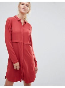 Pips Shirt Dress Brick Red - style: shirt; neckline: shirt collar/peter pan/zip with opening; pattern: plain; predominant colour: true red; occasions: casual, creative work; length: just above the knee; fit: body skimming; fibres: viscose/rayon - 100%; sleeve length: long sleeve; sleeve style: standard; pattern type: fabric; texture group: woven light midweight; season: a/w 2016