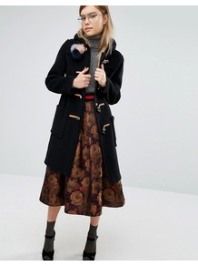 Slim Fit Duffle Coat In Long Line With Tartan Lining Black - pattern: plain; back detail: hood; length: on the knee; collar: high neck; fit: slim fit; style: duffle coat; predominant colour: black; occasions: casual; fibres: wool - mix; sleeve length: long sleeve; sleeve style: standard; collar break: high; pattern type: fabric; texture group: woven bulky/heavy; season: a/w 2016