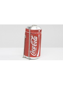 X Coke Can Glitter Cross Body Bag Red - secondary colour: white; predominant colour: true red; occasions: casual; type of pattern: light; style: shoulder; length: shoulder (tucks under arm); size: mini; material: faux leather; finish: plain; pattern: patterned/print; season: a/w 2016