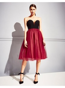 Tutu Midi Skirt - length: below the knee; pattern: plain; style: full/prom skirt; fit: loose/voluminous; waist: mid/regular rise; predominant colour: true red; occasions: evening; fibres: polyester/polyamide - stretch; pattern type: fabric; texture group: net/tulle; season: a/w 2016