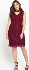 V Neck Top Lace Skirt Dress - style: shift; neckline: v-neck; pattern: plain; sleeve style: sleeveless; predominant colour: burgundy; occasions: evening; length: on the knee; fit: body skimming; fibres: polyester/polyamide - 100%; sleeve length: sleeveless; pattern type: fabric; texture group: jersey - stretchy/drapey; season: a/w 2016