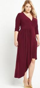 Asymmetric Wrap Dress - style: faux wrap/wrap; neckline: low v-neck; pattern: plain; waist detail: fitted waist; predominant colour: burgundy; occasions: casual, evening, occasion, creative work; length: just above the knee; fit: fitted at waist & bust; fibres: polyester/polyamide - stretch; hip detail: soft pleats at hip/draping at hip/flared at hip; sleeve length: 3/4 length; sleeve style: standard; pattern type: fabric; texture group: jersey - stretchy/drapey; season: a/w 2016