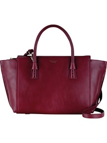 Wimbledon Medium Leather Shoulder Bag - predominant colour: aubergine; occasions: casual, work, creative work; type of pattern: standard; style: tote; length: handle; size: standard; material: leather; pattern: plain; finish: plain; season: s/s 2016