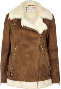 Womens Tan Oversized Aviator Jacket - pattern: plain; length: below the bottom; collar: asymmetric biker; fit: loose; predominant colour: chocolate brown; occasions: casual, creative work; fibres: nylon - 100%; sleeve length: long sleeve; sleeve style: standard; texture group: fur; collar break: high/illusion of break when open; pattern type: fabric; style: aviator; season: a/w 2016