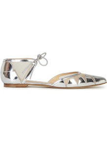 Denni Silver Pointed Leather Flats - predominant colour: silver; occasions: casual, creative work; material: leather; heel height: flat; ankle detail: ankle strap; toe: pointed toe; style: ballerinas / pumps; finish: metallic; pattern: plain; season: a/w 2016