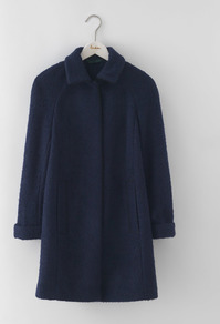 Bridget Bouclé Coat Navy Women, Navy - pattern: plain; length: below the bottom; style: single breasted; predominant colour: navy; occasions: casual; fit: straight cut (boxy); fibres: polyester/polyamide - mix; collar: shirt collar/peter pan/zip with opening; sleeve length: long sleeve; sleeve style: standard; collar break: high; pattern type: fabric; texture group: woven bulky/heavy; season: a/w 2016