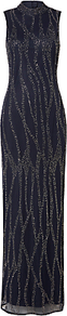 High Collar Slim Embroidered Maxi Dress, Navy - fit: tailored/fitted; pattern: plain; sleeve style: sleeveless; style: maxi dress; neckline: high neck; length: ankle length; predominant colour: navy; secondary colour: silver; occasions: evening; fibres: polyester/polyamide - 100%; sleeve length: sleeveless; texture group: sheer fabrics/chiffon/organza etc.; pattern type: fabric; embellishment: beading; season: a/w 2016