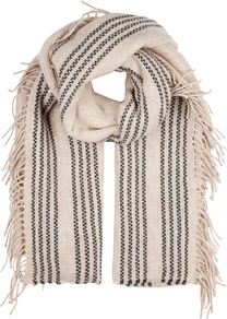 Stone Fringed Wool Blend Scarf - predominant colour: ivory/cream; secondary colour: black; occasions: casual; type of pattern: light; style: regular; size: standard; material: knits; pattern: vertical stripes; multicoloured: multicoloured; season: a/w 2016