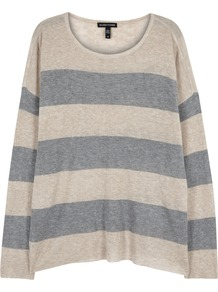 Striped Fine Knit Tencel Blend Jumper - pattern: horizontal stripes; style: standard; secondary colour: denim; predominant colour: light grey; occasions: casual; length: standard; fit: standard fit; neckline: crew; sleeve length: long sleeve; sleeve style: standard; texture group: knits/crochet; pattern type: fabric; fibres: viscose/rayon - mix; multicoloured: multicoloured; season: a/w 2016