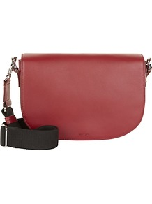 Aster Leather Across Body Bag - predominant colour: burgundy; secondary colour: black; occasions: casual, creative work; type of pattern: standard; style: saddle; length: shoulder (tucks under arm); size: standard; material: leather; finish: plain; pattern: colourblock; season: a/w 2016