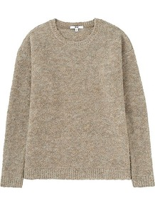 Women Boucle Crew Neck Sweater Beige - pattern: plain; style: standard; predominant colour: stone; occasions: casual; length: standard; fibres: acrylic - mix; fit: standard fit; neckline: crew; sleeve length: long sleeve; sleeve style: standard; texture group: knits/crochet; pattern type: knitted - other; season: a/w 2016