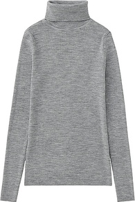Women Extra Fine Merino Ribbed Turtle Neck Sweater Gray - pattern: plain; neckline: roll neck; style: standard; predominant colour: mid grey; occasions: casual; length: standard; fibres: wool - 100%; fit: standard fit; sleeve length: long sleeve; sleeve style: standard; texture group: knits/crochet; pattern type: knitted - other; season: a/w 2016