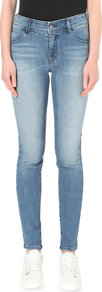 Skinny High Rise Jeans, Women's, Denim Indaco - style: skinny leg; length: standard; pattern: plain; pocket detail: traditional 5 pocket; waist: mid/regular rise; predominant colour: denim; occasions: casual; fibres: cotton - stretch; jeans detail: whiskering, washed/faded; texture group: denim; pattern type: fabric; season: a/w 2016