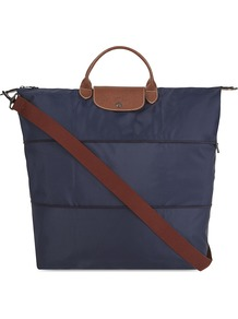 Le Pliage Travel Bag, Blue - predominant colour: navy; occasions: casual, holiday; type of pattern: standard; style: tote; length: handle; size: oversized; material: leather; pattern: plain; finish: plain; season: a/w 2016