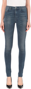 Skinzee Super Skinny High Rise Jeans, Women's, Mid Indigo Destruction - style: skinny leg; length: standard; pattern: plain; waist: high rise; pocket detail: traditional 5 pocket; predominant colour: denim; occasions: casual; fibres: cotton - stretch; texture group: denim; pattern type: fabric; season: a/w 2016