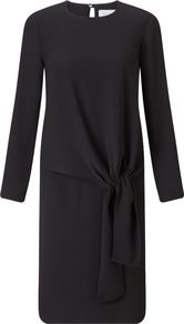 Crepe Tie Front Dress, Black - style: shift; length: below the knee; neckline: round neck; pattern: plain; predominant colour: black; occasions: work, occasion; fit: body skimming; fibres: polyester/polyamide - 100%; sleeve length: long sleeve; sleeve style: standard; texture group: crepes; pattern type: fabric; season: a/w 2016