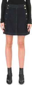 Ashlyn A Line Stretch Denim Skirt, Women's, Silencio - length: mid thigh; pattern: plain; style: straight; waist: mid/regular rise; predominant colour: navy; occasions: casual; fibres: cotton - stretch; texture group: denim; fit: straight cut; pattern type: fabric; season: a/w 2016