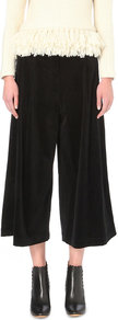 Easton Wide Leg Corduroy Culottes, Women's, Noir - pattern: plain; waist: mid/regular rise; predominant colour: black; occasions: casual, work; fibres: cotton - stretch; texture group: corduroy; pattern type: fabric; style: culotte; length: below the knee; fit: baggy; season: a/w 2016