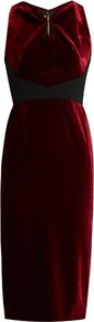 Mennan Velvet Dress - style: shift; length: below the knee; neckline: v-neck; pattern: plain; sleeve style: sleeveless; hip detail: fitted at hip; predominant colour: burgundy; occasions: evening; fit: body skimming; fibres: cotton - 100%; sleeve length: sleeveless; pattern type: fabric; texture group: velvet/fabrics with pile; season: a/w 2016