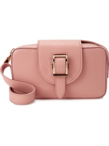 Microbox Pink Leather Cross Body Bag - predominant colour: pink; occasions: casual, creative work; type of pattern: standard; style: shoulder; length: shoulder (tucks under arm); size: small; material: leather; pattern: plain; finish: plain; season: a/w 2016