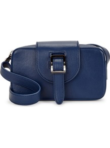 Microbox Dark Blue Leather Cross Body Bag - predominant colour: royal blue; occasions: casual, creative work; type of pattern: standard; style: shoulder; length: shoulder (tucks under arm); size: small; material: leather; pattern: plain; finish: plain; season: a/w 2016