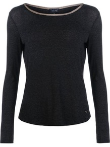 Jersey T Shirt - neckline: round neck; pattern: plain; predominant colour: black; occasions: casual; length: standard; style: top; fibres: viscose/rayon - stretch; fit: body skimming; sleeve length: long sleeve; sleeve style: standard; pattern type: fabric; texture group: jersey - stretchy/drapey; season: a/w 2016