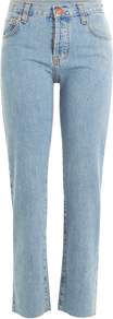 Cropped Straight Leg Jeans Blue - style: straight leg; length: standard; pattern: plain; pocket detail: traditional 5 pocket; waist: mid/regular rise; predominant colour: pale blue; occasions: casual; fibres: cotton - stretch; texture group: denim; pattern type: fabric; season: a/w 2016