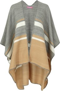 Multi Stripe Cape - length: below the bottom; collar: shawl/waterfall; fit: loose; style: cape; secondary colour: nude; predominant colour: mid grey; occasions: casual; fibres: acrylic - 100%; sleeve length: 3/4 length; texture group: knits/crochet; collar break: low/open; pattern type: knitted - fine stitch; pattern: florals; sleeve style: cape/poncho sleeve; multicoloured: multicoloured; season: a/w 2016
