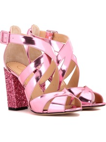 Apollo 100 Embellished Leather Sandals - predominant colour: pink; occasions: evening, occasion; material: leather; heel height: high; ankle detail: ankle strap; heel: block; toe: open toe/peeptoe; style: strappy; finish: metallic; pattern: plain; season: a/w 2016; wardrobe: event