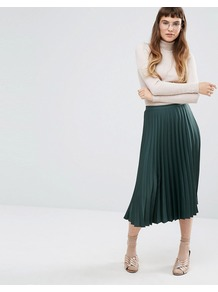 Satin Crepe Pleated Midi Skirt Green - length: calf length; pattern: plain; fit: body skimming; style: pleated; waist: mid/regular rise; predominant colour: dark green; occasions: casual; fibres: polyester/polyamide - 100%; pattern type: fabric; texture group: other - light to midweight; season: a/w 2016