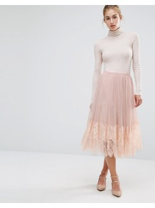Mesh Midi Prom Skirt Nude - length: calf length; pattern: plain; style: full/prom skirt; fit: loose/voluminous; waist: mid/regular rise; predominant colour: nude; occasions: casual, evening; fibres: polyester/polyamide - 100%; texture group: sheer fabrics/chiffon/organza etc.; pattern type: fabric; season: a/w 2016
