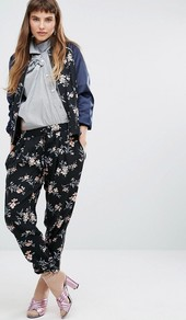 Printed Floral Jogger Black - style: tracksuit pants; waist: low rise; secondary colour: blush; predominant colour: black; occasions: casual, creative work; length: ankle length; fibres: polyester/polyamide - 100%; fit: tapered; pattern type: fabric; pattern: patterned/print; texture group: woven light midweight; multicoloured: multicoloured; season: a/w 2016