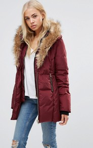 High Neck Quilted Coat With Faux Fur Trim Burgandy - pattern: plain; length: below the bottom; fit: loose; style: parka; back detail: hood; predominant colour: burgundy; occasions: casual; fibres: polyester/polyamide - 100%; hip detail: dip hem; sleeve length: long sleeve; sleeve style: standard; texture group: technical outdoor fabrics; collar: fur; collar break: medium; pattern type: fabric; season: a/w 2016