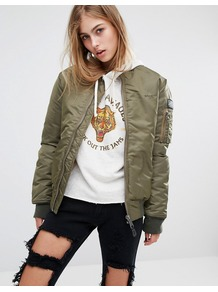 Aireforce 1 Bomber Jacket With Woven Badge On Arm Khaki - sleeve style: puffed; collar: round collar/collarless; style: bomber; predominant colour: khaki; occasions: casual; length: standard; fit: straight cut (boxy); fibres: polyester/polyamide - 100%; sleeve length: long sleeve; collar break: high; pattern type: fabric; pattern size: standard; pattern: colourblock; texture group: other - bulky/heavy; season: a/w 2016