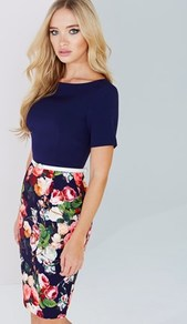 Top Floral Dress - neckline: round neck; fit: tight; style: bodycon; secondary colour: pink; predominant colour: navy; occasions: evening; length: on the knee; fibres: polyester/polyamide - stretch; hip detail: soft pleats at hip/draping at hip/flared at hip; sleeve length: short sleeve; sleeve style: standard; texture group: jersey - clingy; pattern type: fabric; pattern: florals; multicoloured: multicoloured; season: a/w 2016