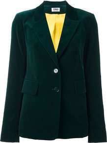 Velvet Effect Single Breasted Blazer, Women's, Green - pattern: plain; style: single breasted blazer; collar: standard lapel/rever collar; predominant colour: dark green; occasions: evening, work; length: standard; fit: tailored/fitted; fibres: cotton - stretch; sleeve length: long sleeve; sleeve style: standard; collar break: medium; pattern type: fabric; pattern size: standard; texture group: velvet/fabrics with pile; season: a/w 2016