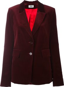 Velvet Effect Single Breasted Blazer, Women's, Red - pattern: plain; style: single breasted blazer; fit: slim fit; collar: standard lapel/rever collar; predominant colour: burgundy; occasions: evening; length: standard; fibres: cotton - 100%; sleeve length: long sleeve; sleeve style: standard; collar break: medium; pattern type: fabric; texture group: velvet/fabrics with pile; season: a/w 2016