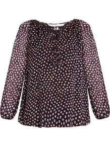 Saylor Blouse - neckline: round neck; style: blouse; predominant colour: purple; occasions: work; length: standard; fibres: silk - 100%; fit: body skimming; sleeve length: long sleeve; sleeve style: standard; texture group: silky - light; pattern type: fabric; pattern: patterned/print; pattern size: big & busy (top); season: a/w 2016